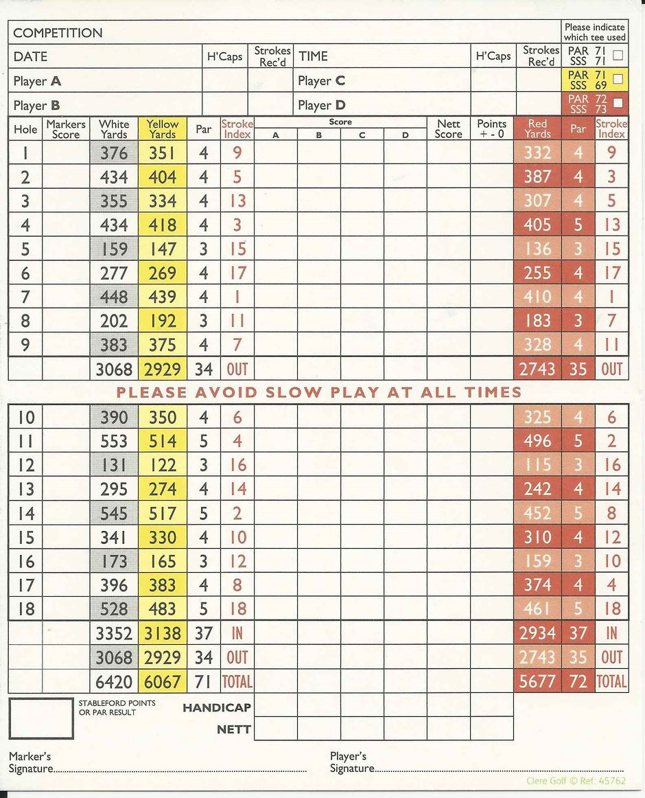 Scorecard :: Hockley Golf Club